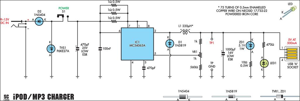 Fig.2: the complete circuit is based on a dedicated MC34063 switchmode